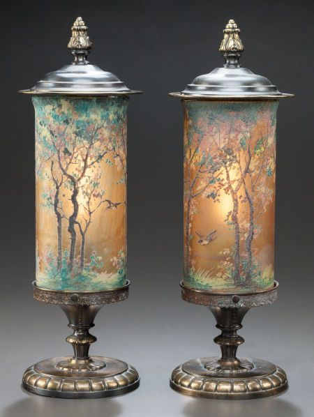 PAIR OF HANDEL TEROMA PAINTED GLASS AND PATINATED BRASS LAMPS Circa 1910, Painted to shade: HANDEL 6991, Bedigig