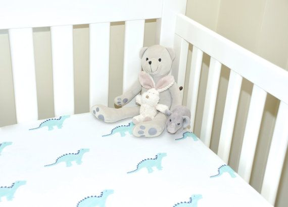 100% organic cotton Dino fitted cot/toddler bed sheets on Etsy, $109.00 AUD