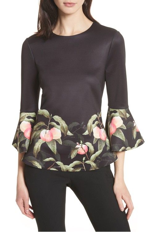 Main Image - Ted Baker London Peach Blossom Bell Sleeve Top