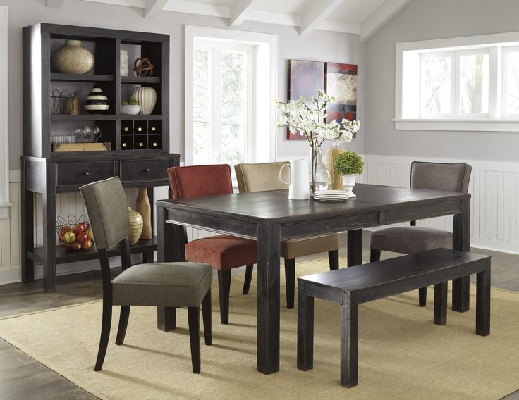 Gavellestong Dining Set With Black Rectangular Table, 4 Chairs And Bench,  Server And Hutch