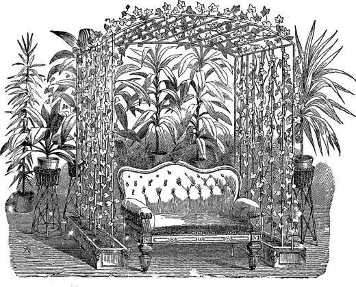 Графика винтажного уютного уголка для отдыха. Мягкий диван стоит в увитой плющом беседке. Вокруг размещены высокие комнатные растения, изображая тропики.