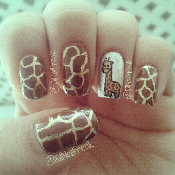 Giraffe Nails @Heather Creswell Creswell Creswell Jenkins Brown!