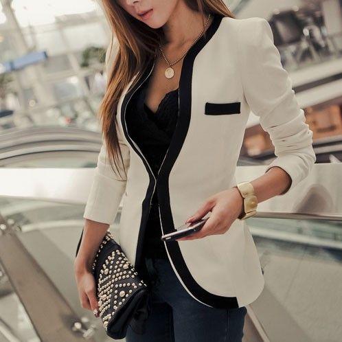 Kontrast Farbe Slim Fit Business Suit Kurz Jacke Figurbetonte Blazer - Blazer - Kleidung
