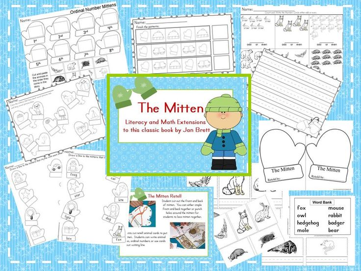 The Mitten by Jan Brett is an awesome read aloud for this season.  Here are some activities and printables to go along with the book- $2.25