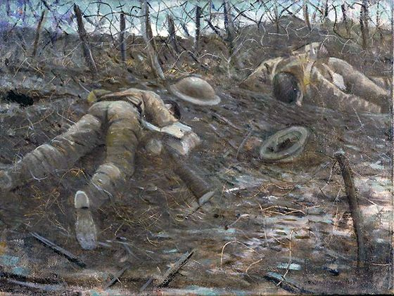 C.R.W. Nevinson, Paths Of Glory, 1917, oil on canvas, 467 x 609 mm (Imperial War Museum, London) It showed the part of war that was death.