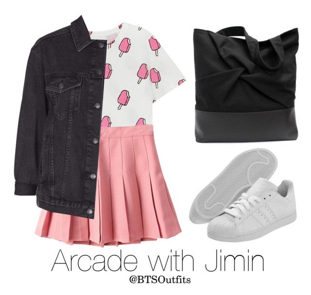 Arcade with Jimin by btsoutfits on Polyvore featuring polyvore, fashion, style, Topshop, adidas and clothing