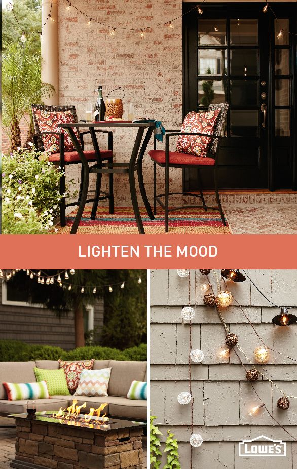 Outfit your outdoor space with soft lighting for a warmer, more intimate setting.