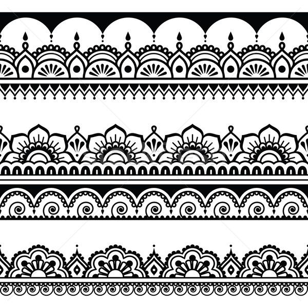 Indian seamless pattern, design elements - Mehndi tattoo style vector illustration by Agnieszka Murphy (RedKoala) - Stockfresh #5685879