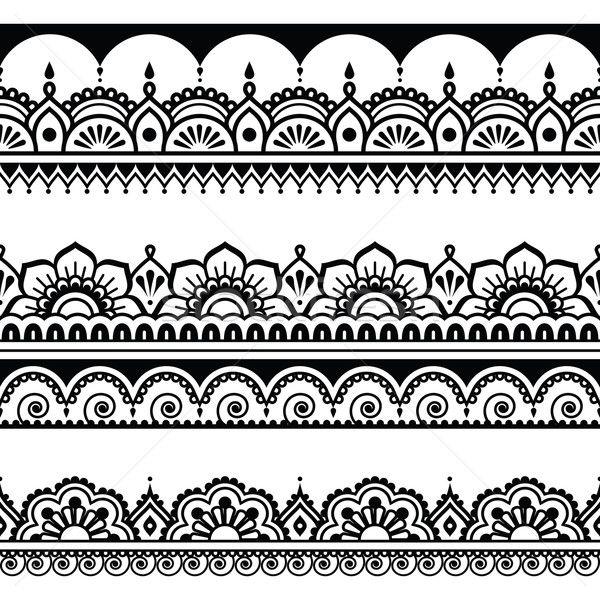 Indian seamless pattern, design elements - Mehndi tattoo style vector illustration by Agnieszka Murphy (RedKoala) - Stockfresh #5685879