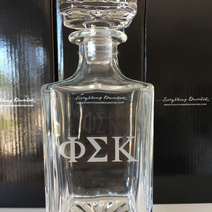 Fraternity graduation gift, Greek letters engraved whiskey decanter, College graduation gift, Greek life gift.
