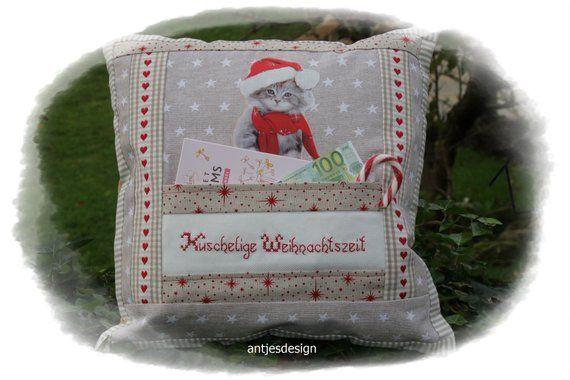 Katze Weihnachten Kissen Adventsdeko Shabby Kuschelige
