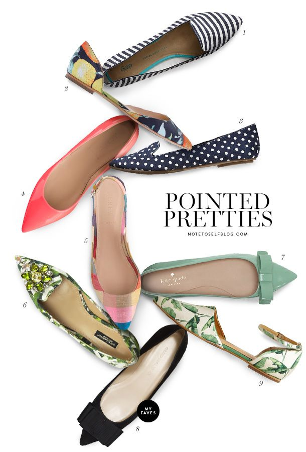 Printed pretties (pointed flat: the elevated feel of a heel, but with the composure and comfort of having ones entire sole on the ground)