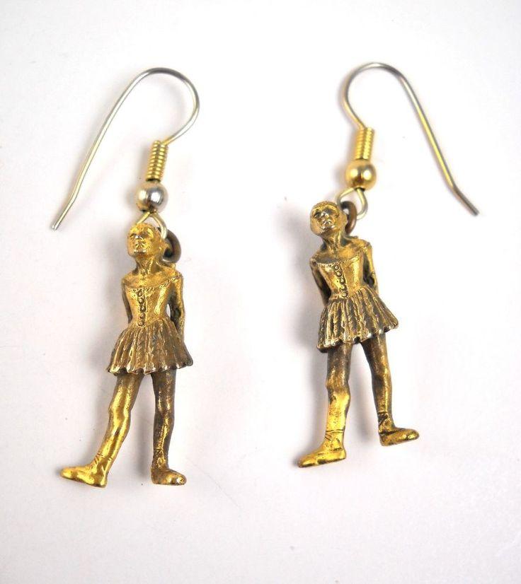 Delicate Dangle Edgar Degas' Ballerina Gold Over Sterling Earrings  #Unbranded #DropDangle