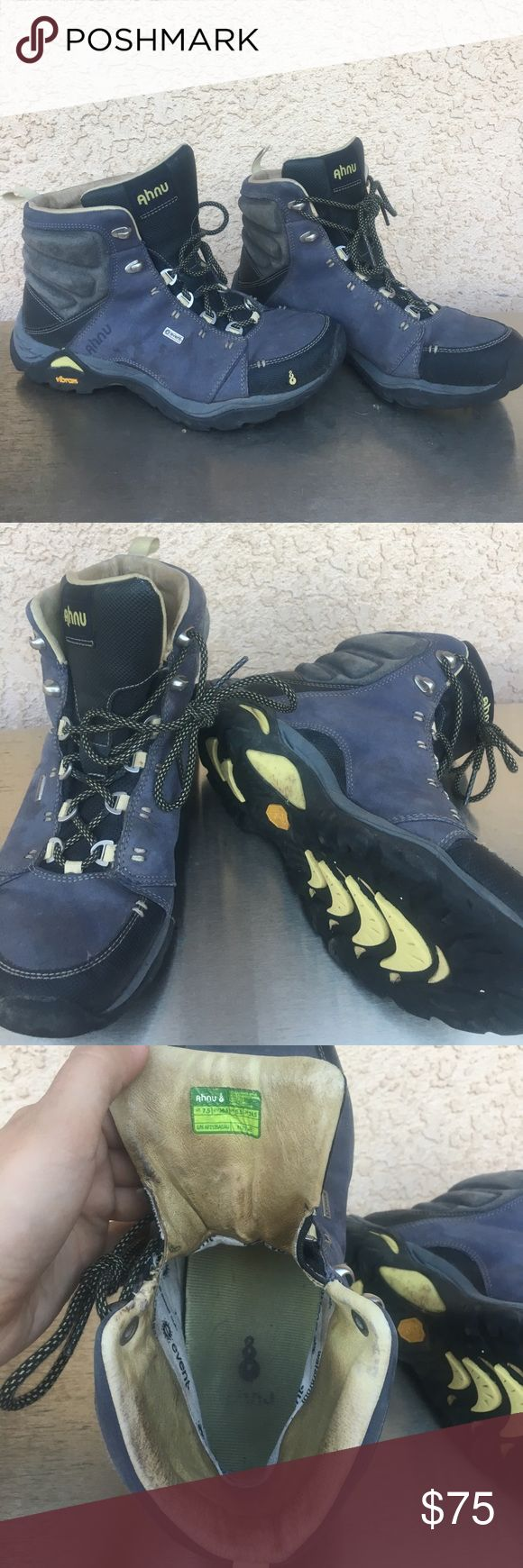 Ahnu women's hiking boots Women's ahnu boots, size 7.5. Only work a handful of times, less than 20 miles on these boots. Event waterproof lining on the inside and vibrant soles. Nice lightweight boots. Some discoloration on outside, see pictures. Ahnu Shoes Ankle Boots & Booties