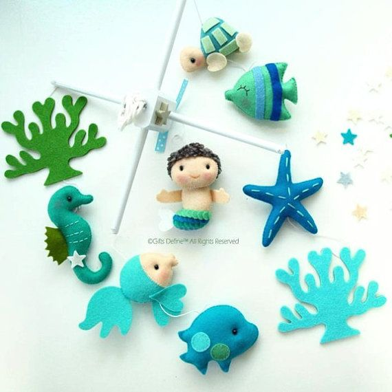 Musical Baby Mobile Mermaid and Under the Sea Fish by GiftsDefine