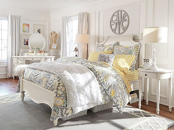 Best White Yellow Gray Paisley Bedroom Pb Bedrooms 400 x 300