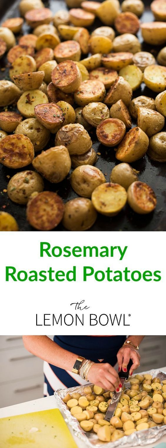 Creamy potatoes are halved then roasted with olive oil, rosemary, garlic and salt. A fast and easy five-ingredient side dish recipe!