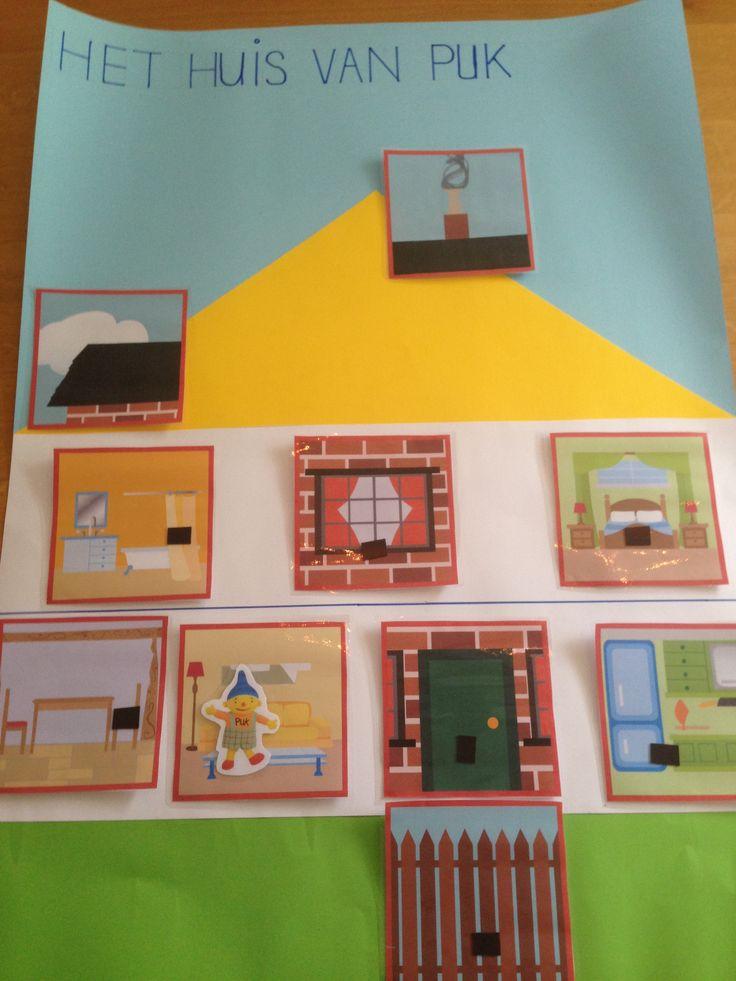 Een gezellige huishoek! De pictogrammen, het huis & Puk zijn voorzien van een magneet.