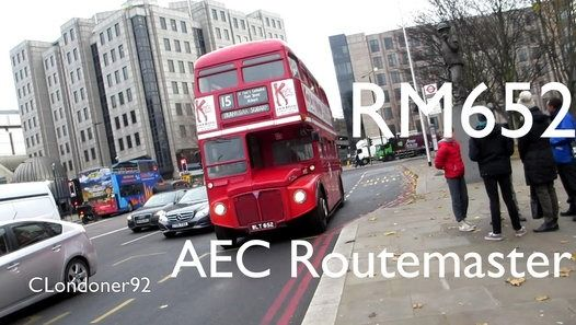 London Buses Route 15H Operated by Stagecoach from West Ham (WH) Garage AEC Routemaster (Marshall Rebuild) RM652 WLT652 Filmed on 8th December 2016