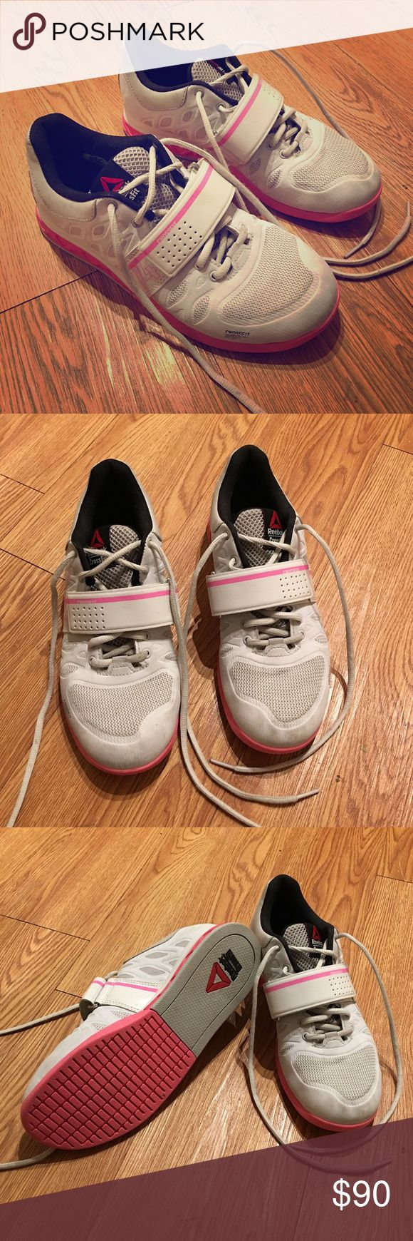 Crossfit Lifting Shoes Reebok Crossfit Powerbax Shoes, worn twice! Only minor grey marks on toes! Pink and white and super cute and comfy! Reebok Shoes Athletic Shoes