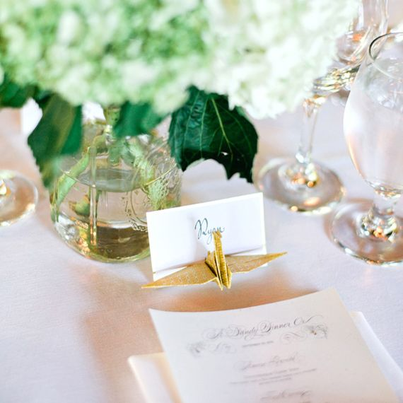 love the origami place card holders ~ Santa Monica wedding   100 Layer Cake