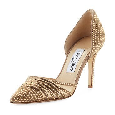 "On SALE at 51% OFF! Kyra Studded 85mm d'Orsay Pump by Jimmy Choo. Jimmy Choo studded suede pump with mesh side. 3.3"" covered heel. Pointed toe with fringe detail. d'Orsay silhouette. ..."