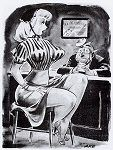 Jack Cole - Vintage Pinup Girl Comics - CAPTION: And when I go to the movies they keep making me buy three tickets!
