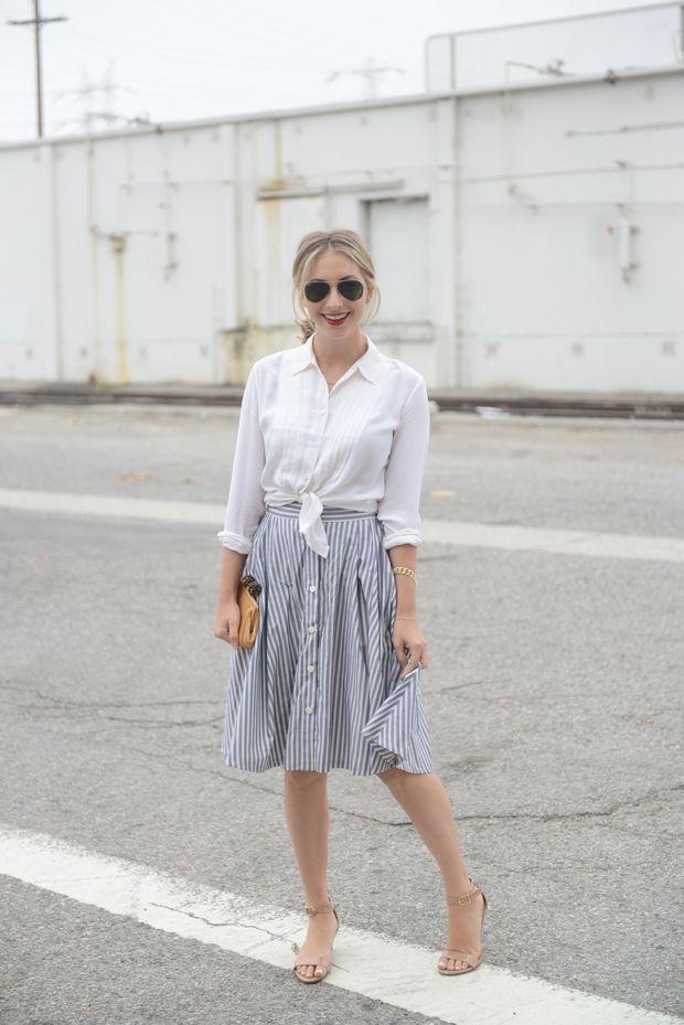 gray striped midi skirt.