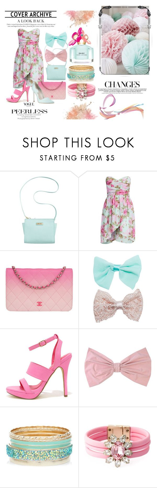 Pinky-mint combo by iris234 on Polyvore featuring Fahrenheit, Marc Fisher, Chanel, SHOUROUK, Wet Seal, PINK BOW and Marc Jacobs