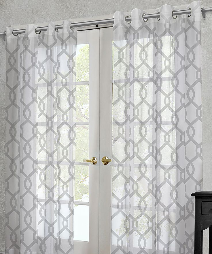 White Rio Sheer Grommet Curtain Panel Set Of Two