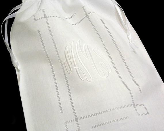 Monogrammed Laundry Bag Linen White Hemstitch Lingerie Bag Wedding