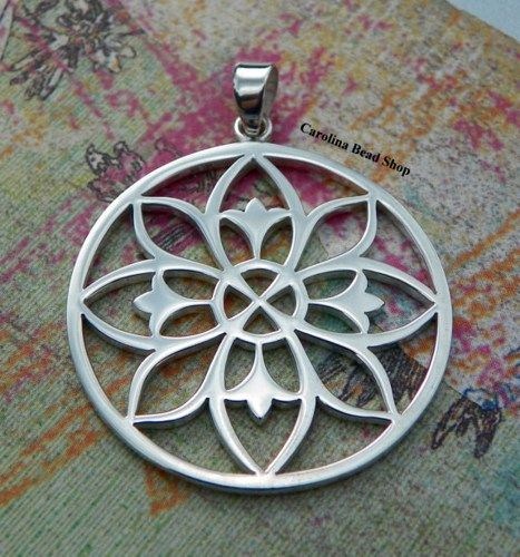 Large Sterling Silver Open Work Mandala Pendant wih Bail  a 6.1mm soldered ring.  Size (mm):  Length: 42.6  Width: 32  Height: 1.3    Thanks for stopping by!
