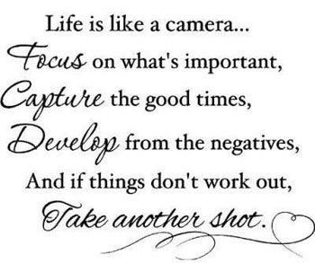 """""""Life is like a camera, focus on what's important..."""" - Famous Inspirational Quotes"""