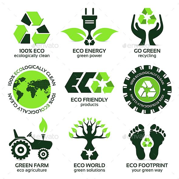 Eco Label and Symbol Set