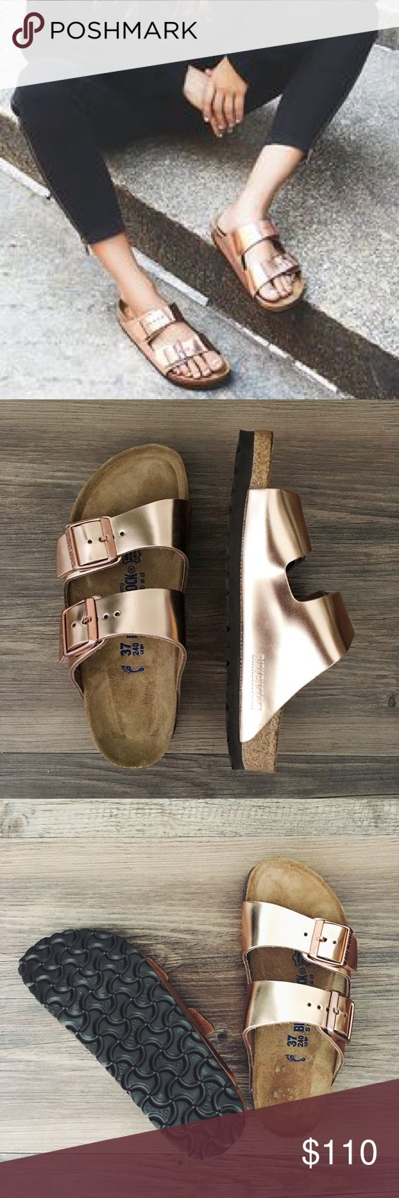 Rose gold Birkenstocks Classic Arizona fit in a GORGEOUS rose gold! Brand new with box (the box is missing the top FYI). A 37 Birk translates to a women's 6-6.5. Birkenstock Shoes