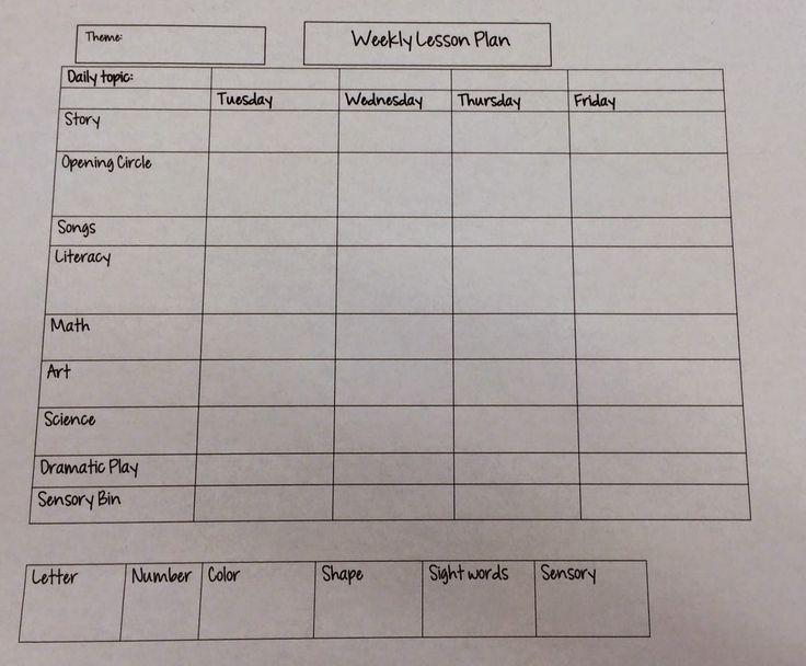 Miss Nicole's Preschool: Weekly Lesson Plan template