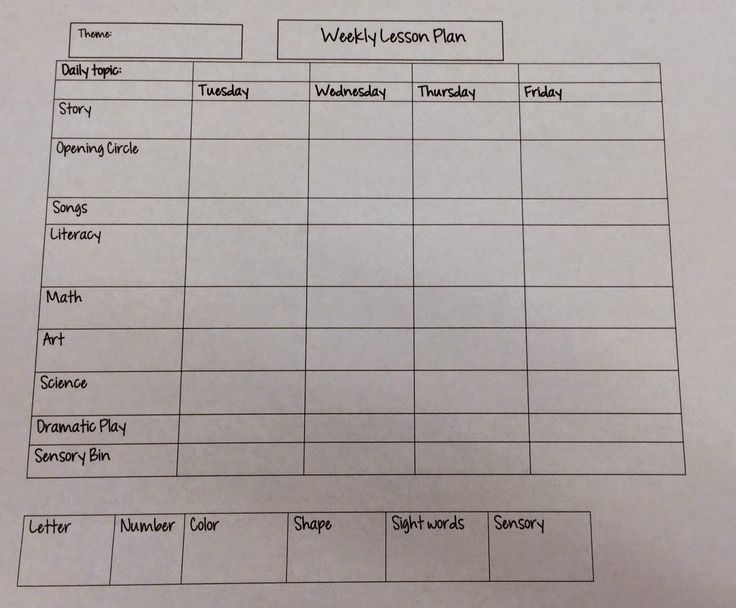 Miss Nicole's Preschool: Weekly Lesson Plan template
