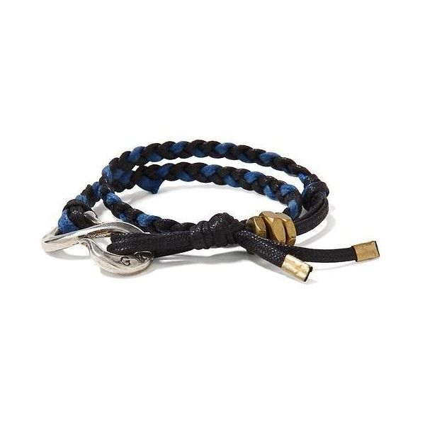 Banana Republic Mens Giles & Brother Braided Navy S Hook Wrap Bracelet ($165) ❤ liked on Polyvore featuring men's fashion, men's jewelry, men's bracelets, navy, mens leather braided bracelets, men's wrap bracelet, mens bracelets, mens cord bracelets and mens watches jewelry