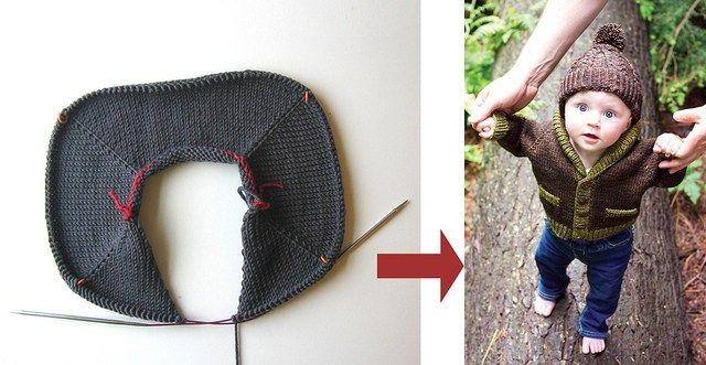 Serie Técnicas suéter - el abuelo del bebé Cardigan - 4/6: Top-Down suéter de construcción - Cuerpo y Armas | Tin Can Tejidos