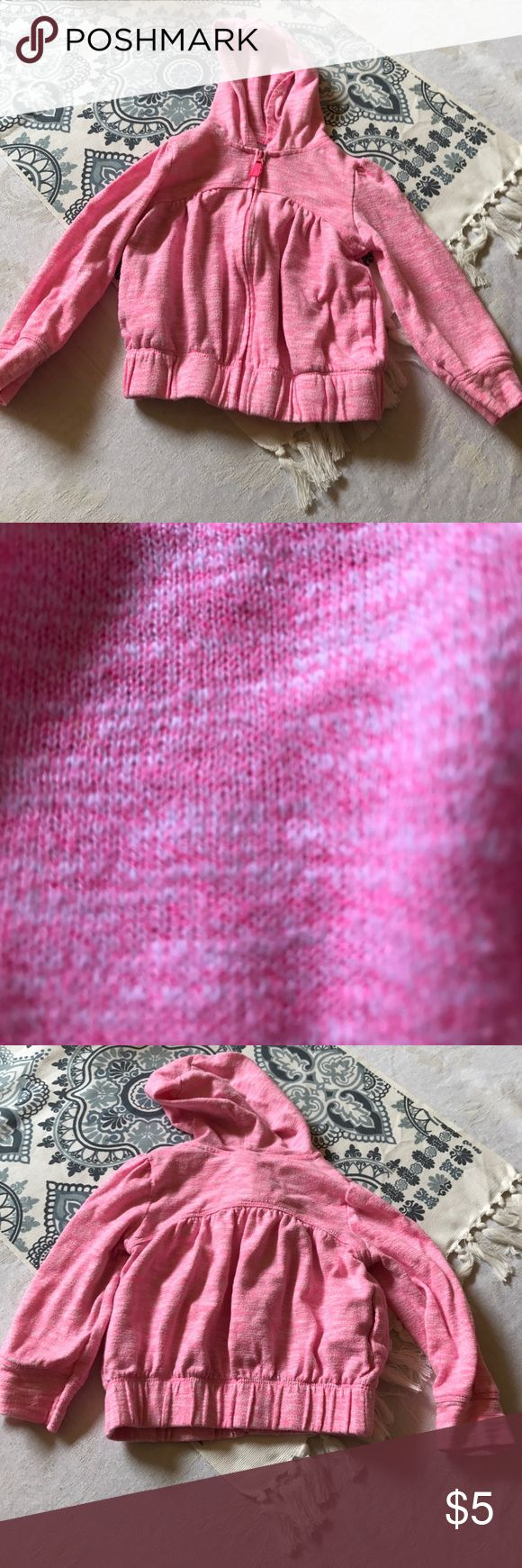 Pink zip up hooded sweatshirt Pink with white zip up sweatshirt, Circo brand 3t girls, elastic at the bottom, excellent condition, close up shoes the detail of the pattern Circo Jackets & Coats