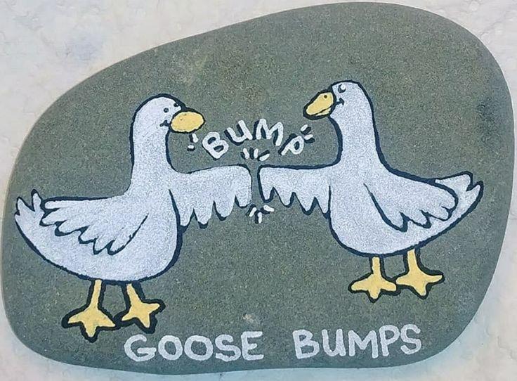 Goose bumps painted rock
