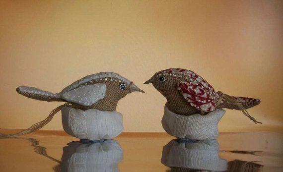 Uccelli di stoffa  con nido bomboniere  battesimo di Stellangelo