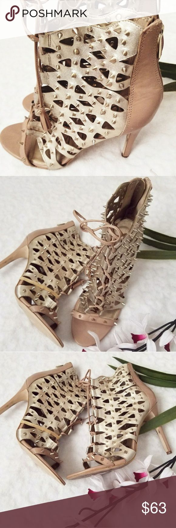 """Sam Edelman Spike Lace Up Heels Brand: Sam Edelman,  Style: Allison Spiked Cutout Heel Sandal, Color: Nude, Marerial: Leather and Suede Leather, Sizing: 8 - True to size, Condition: In excellent pre owned condition - Open toe - Contrasting leather and suede construction - Allover spike studs - Cutout detail - Ghillie lace-up front with tassels - Back zip closure - Covered stiletto heel - Approx. 4.25"""" heel Shoes Heels"""