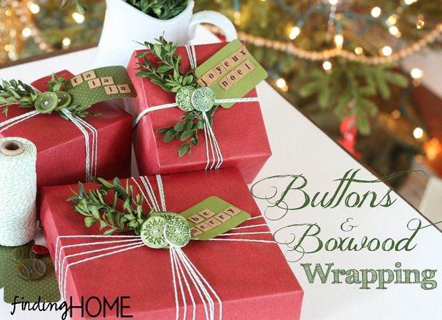 Today I am teaming up with four lovely ladies to bring you… I will be sharing my project of wrapping with buttons and boxwood and then the links are below for each of the other creative projects.  I wish I could tell you that I am one of those people who has all their shopping and wrapping done early