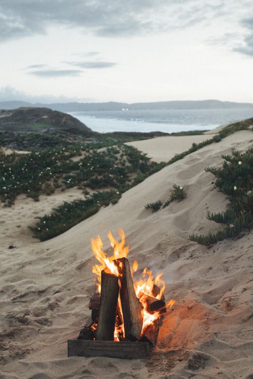 "imbradenolsen: "" camp fire at the beach in Monterey """