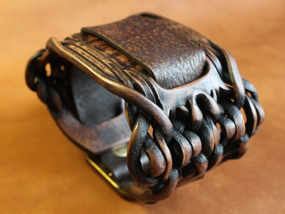 Mens leather watchband. Leather bracelet for от UniqueLeatherWares