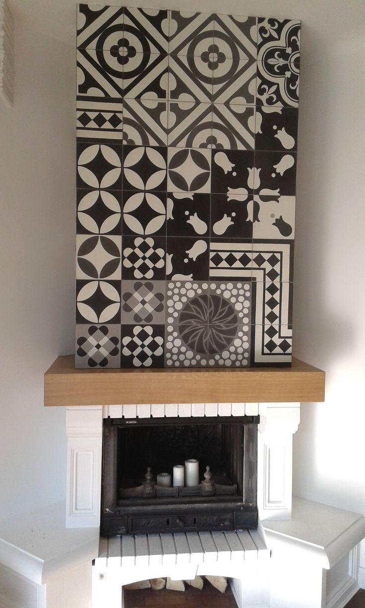 Fireplace wall. Tiles: Purpura
