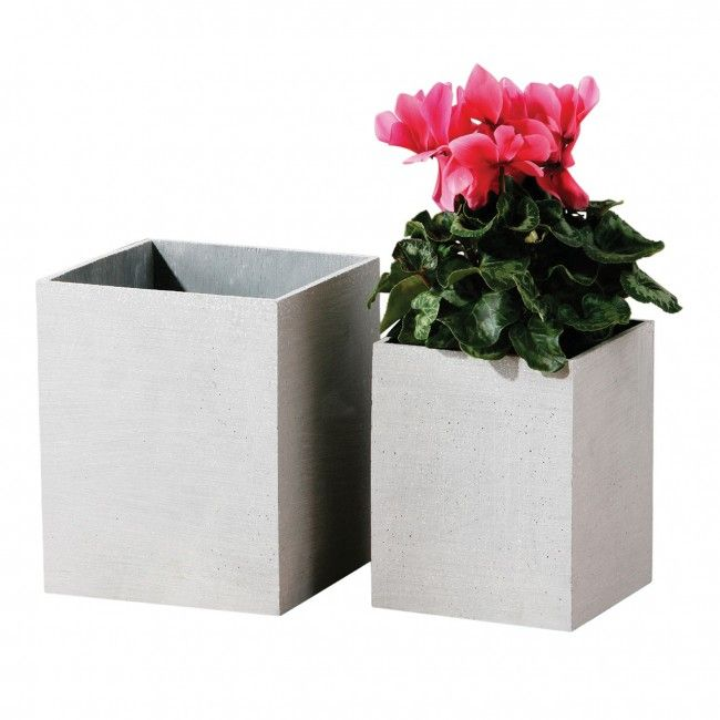 Grey Polyresin Square Vase - http://bit.ly/1KjvE4i