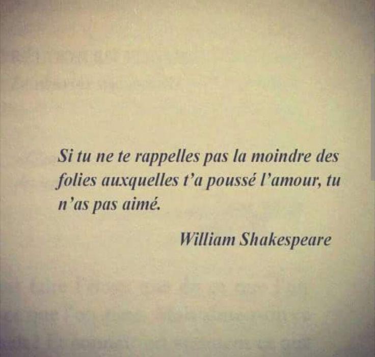 Shakespaere - Si tu ne te rappelles pas la moindre des folies auxquelles t'as poussé l'amour, tu n'as pas aimé.