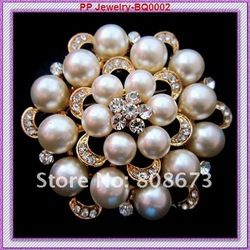 De haute qualité gold tone 6pcs/lot superbes, cristal perle de mode broche bouquet de fleurs pour le mariage 12,5 dollards